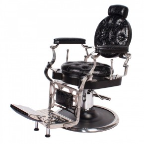 """JUSTINIAN"" Antique Barber Chair in Patent Black Crocodile (Free Shipping)"