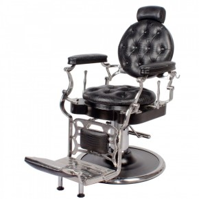 """JUSTINIAN"" Antique Barber Chair in Black Crocodile (Free Shipping)"