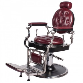 """JUSTINIAN"" Antique Barber Chair in Dark Merlot"