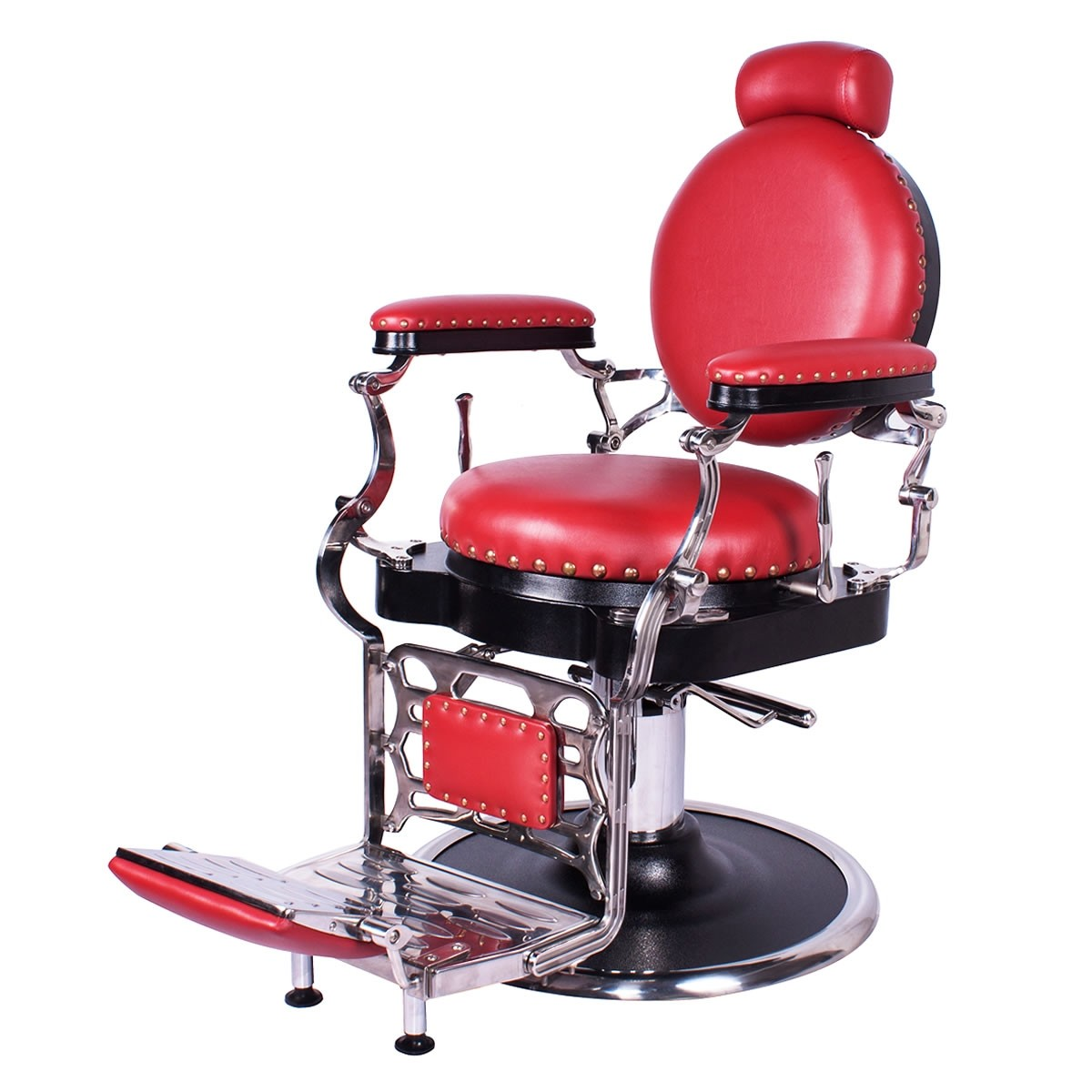 """ZENO"" Antique Barbershop Chair in Cardinal Red"