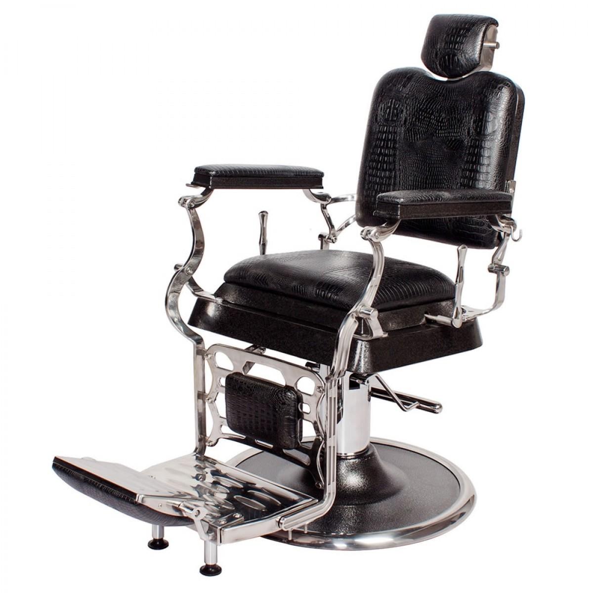"""""""EMPIRE"""" Barber Chair in Black Crocodile"""