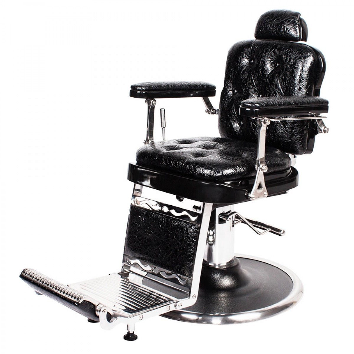 """REGENT"" Barber Shop Chair in Patent Black Crocodile"