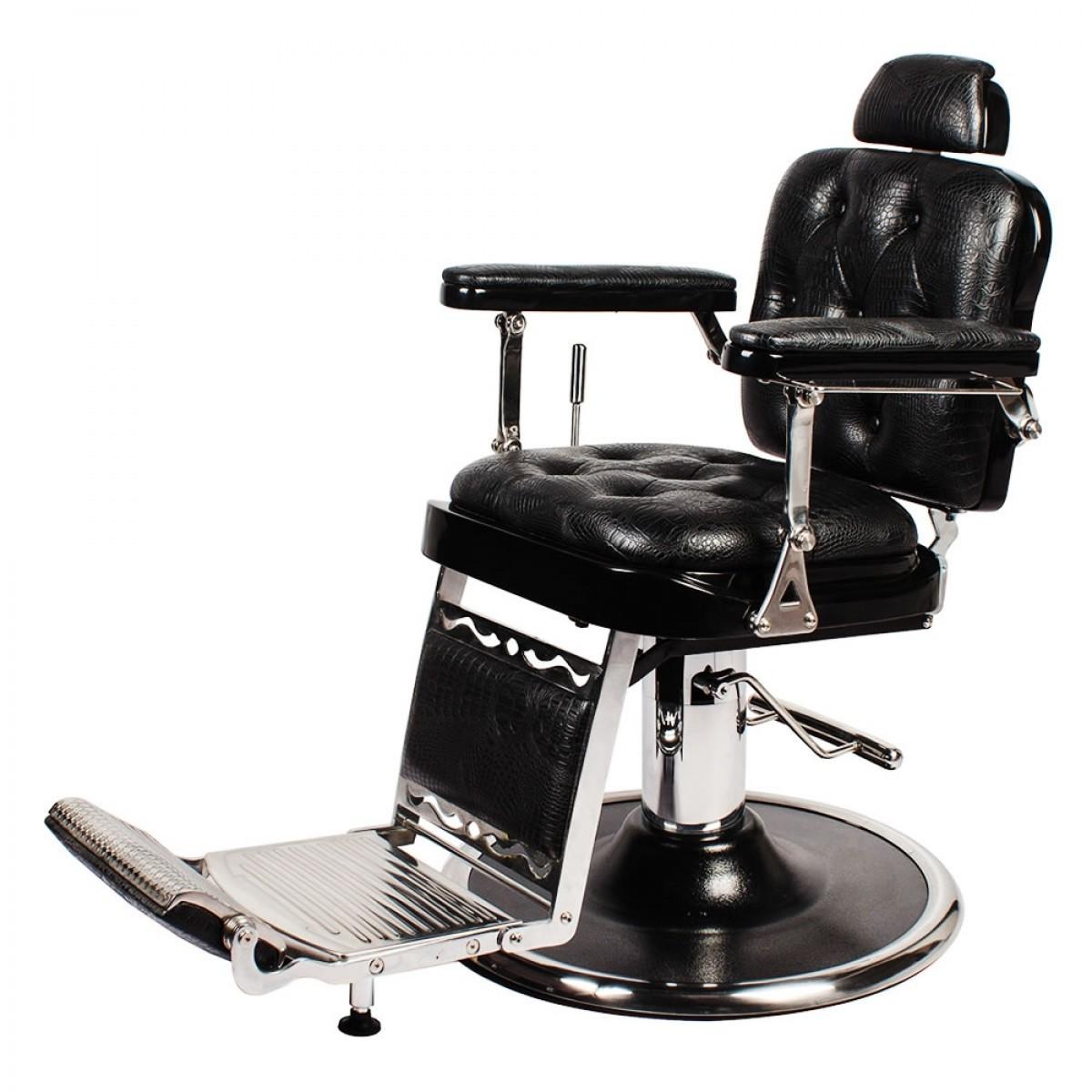 """REGENT"" Barber Shop Chair in Black Crocodile"