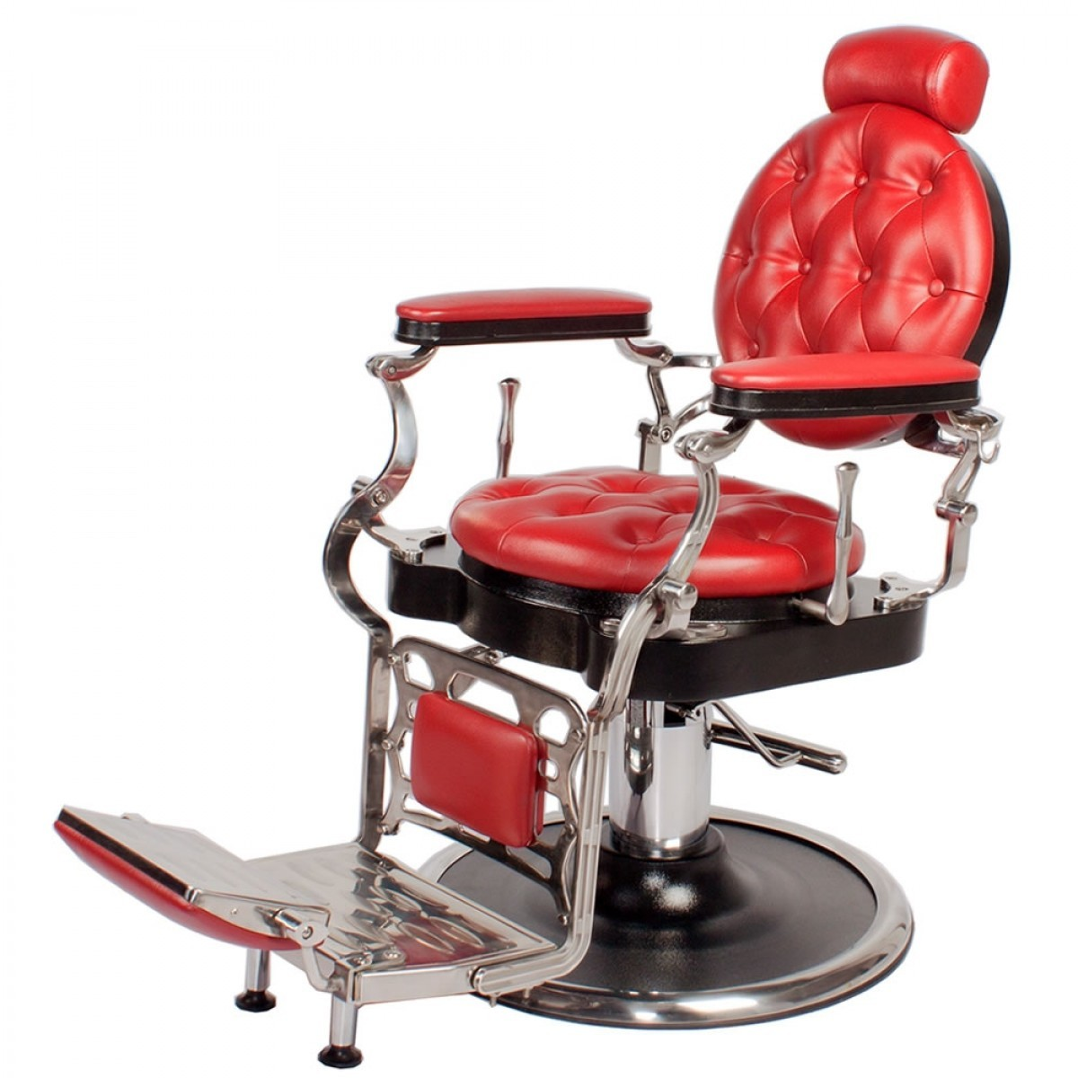 """""""JUSTINIAN"""" Antique Barber Chair in Cardinal Red"""