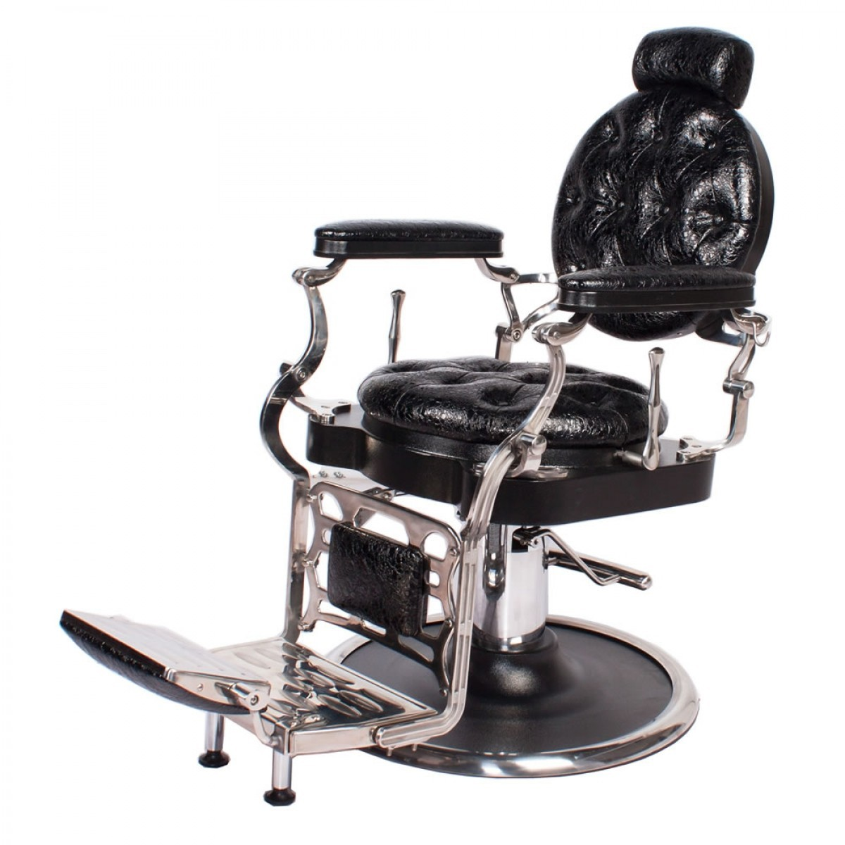 """""""JUSTINIAN"""" Antique Barber Chair in Patent Black Crocodile"""