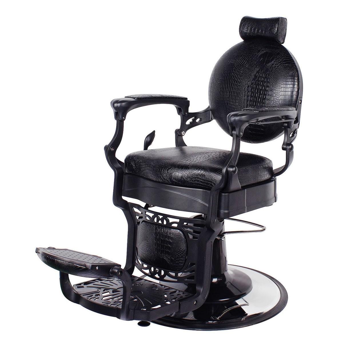 """ROMANOS"" Vintage Barbershop Chair in Black Crocodile"