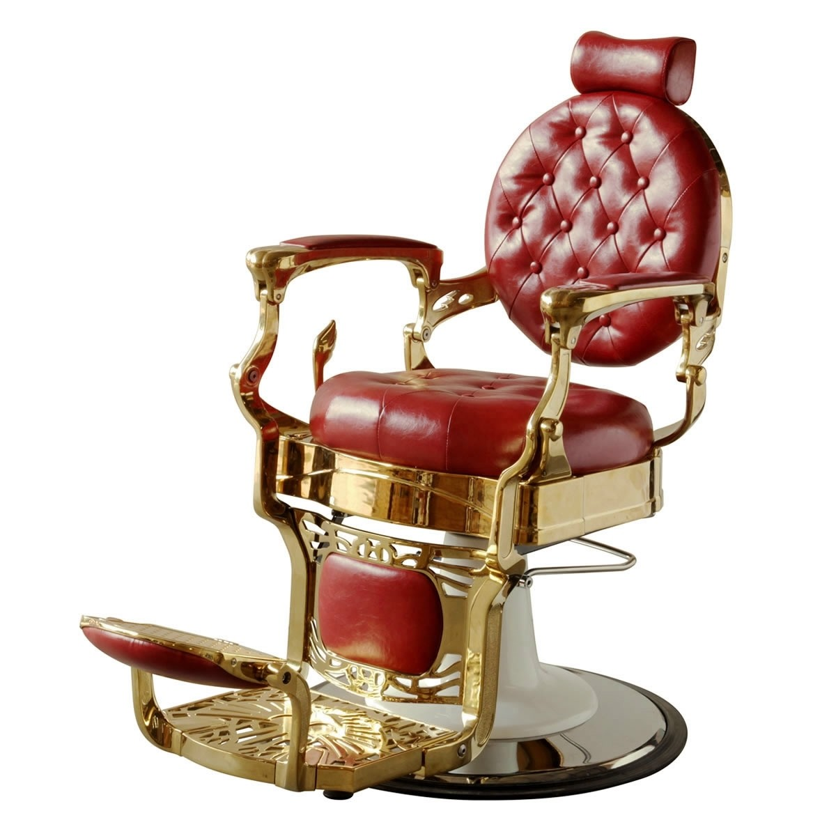 """THEODORE"" Golden Barber Chair in Cardinal Red"