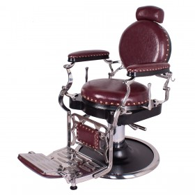 """ZENO"" Antique Barbershop Chair in Dark Merlot"
