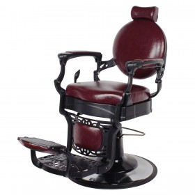 """ROMANOS"" Vintage Barbershop Chair in Dark Merlot"