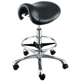 """HERMES"" Saddle Salon Stool with Footrest"