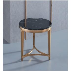 Rose gold brushed marble corner round side several gold-plated sofa side table side cabinet tea table hotel custom corner several