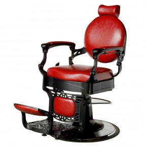 """ROMANOS"" Vintage Barbershop Chair in Cardinal Red"